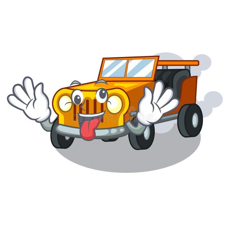 在前面赦免的疯狂的吉普动画片汽车 皇族释放例证
