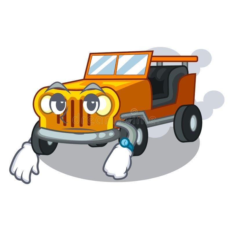 在前面赦免的等待的吉普动画片汽车 库存例证
