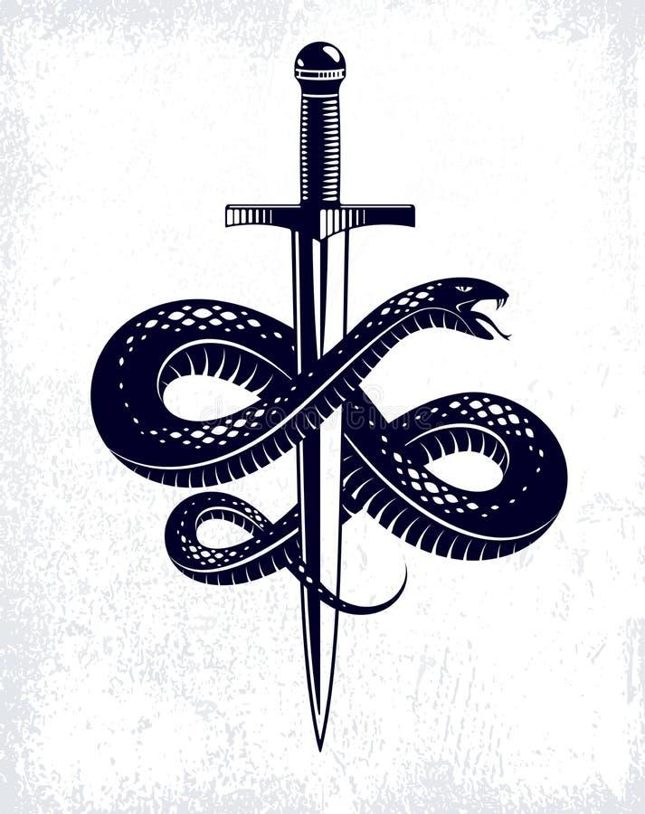 在剑传染媒介葡萄酒纹身花刺附近的蛇和匕首,蛇套,罗马神水星、运气和欺骗,寓言的商标或 向量例证