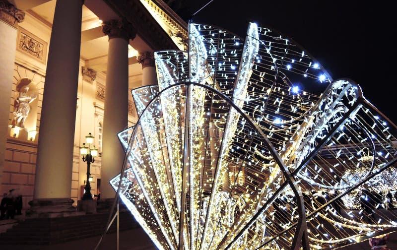 在剧院正方形的圣诞节装饰在莫斯科 免版税库存图片