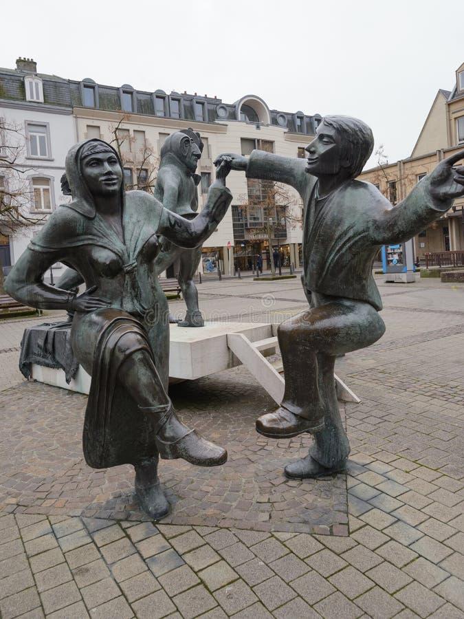在剧院正方形的雕塑在卢森堡镇,欧洲的心脏 库存图片