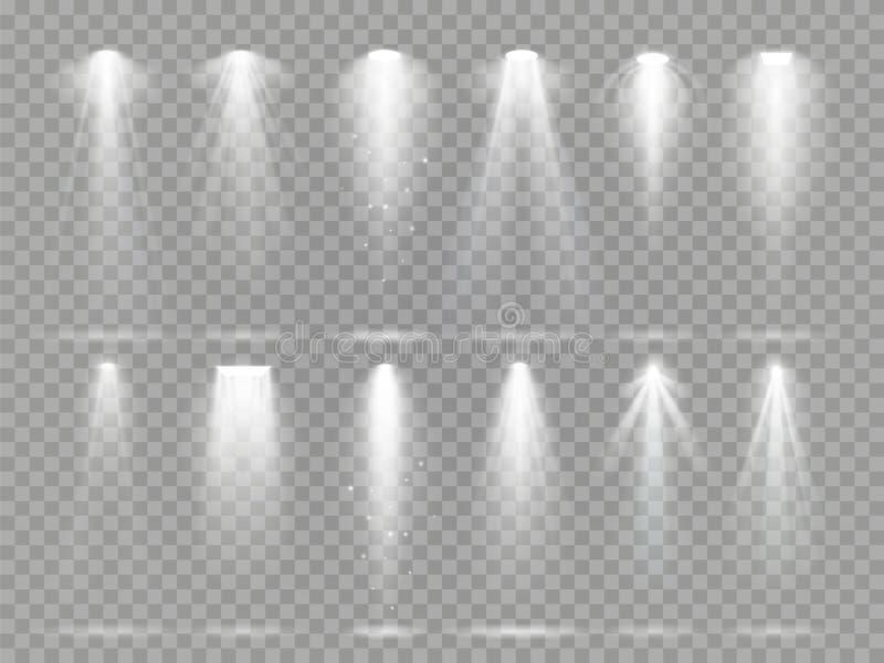 在剧院阶段的明亮的投光器射线 演播室泛光灯、白色聚光灯光和泛光灯光芒  向量例证