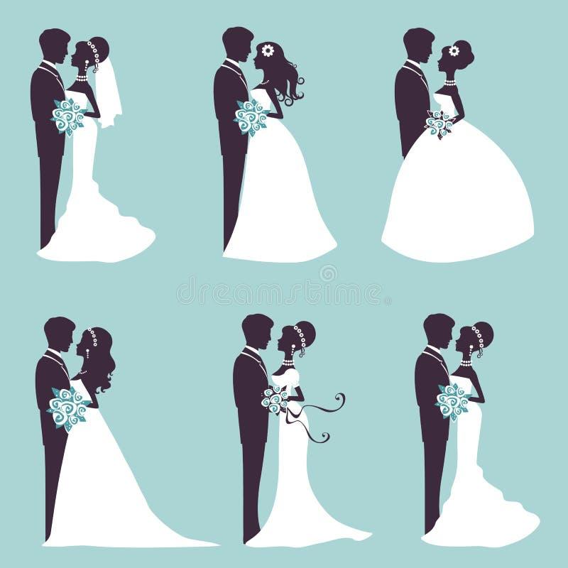 在剪影的典雅的婚礼夫妇 向量例证