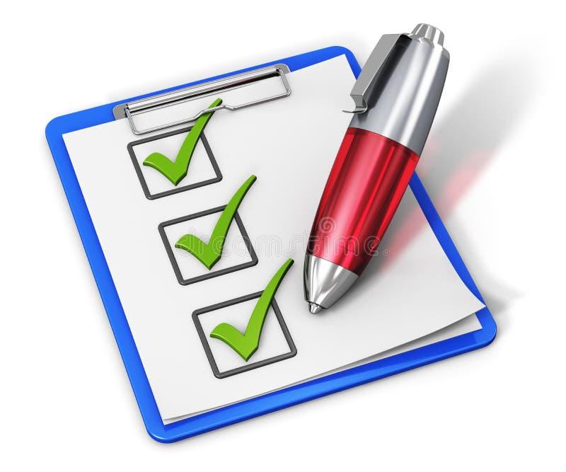 在剪贴板和笔的核对清单 向量例证
