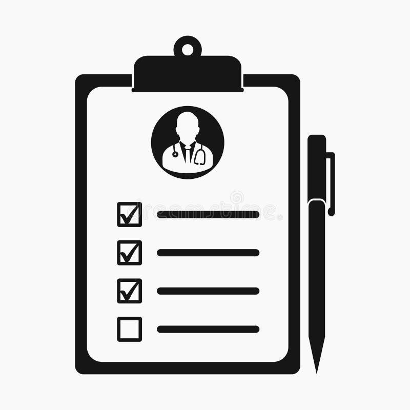 在剪贴板标志的医疗考试成绩单象 库存例证