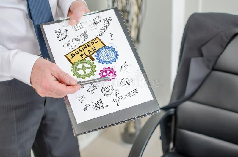 在剪贴板的经营计划概念 库存图片