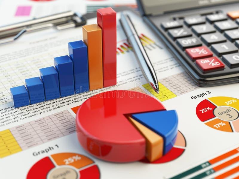 在剪贴板的企业财政图图表在白色 A 向量例证