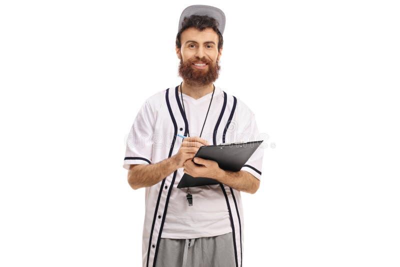 在剪贴板的棒球教练文字 免版税图库摄影