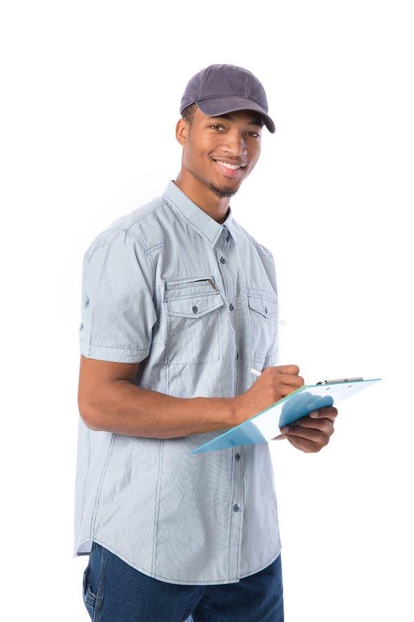 在剪贴板的非裔美国人的工作者文字 免版税库存图片