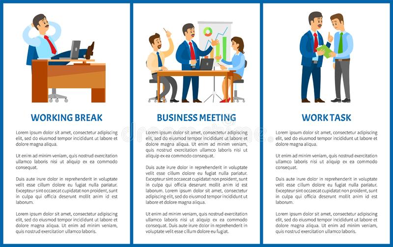 在办公室、上司和雇员的运作的过程 向量例证