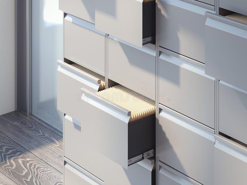 在办公室内部的文件柜 3d翻译 皇族释放例证