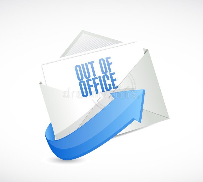 在办公室回复电子邮件信封例证外面 向量例证