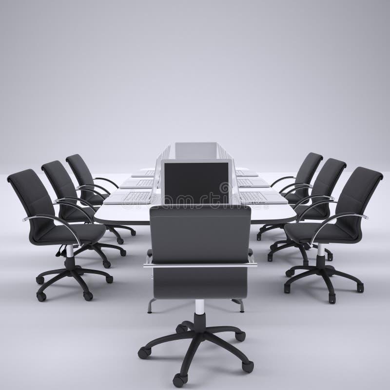 在办公室圆桌和椅子上的膝上型计算机 向量例证