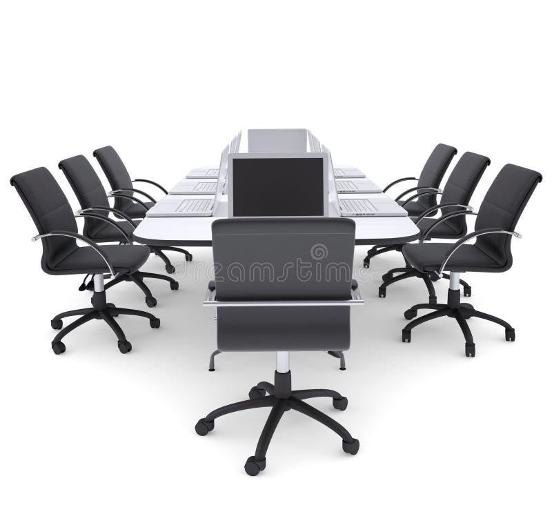 在办公室圆桌和椅子上的膝上型计算机 库存例证
