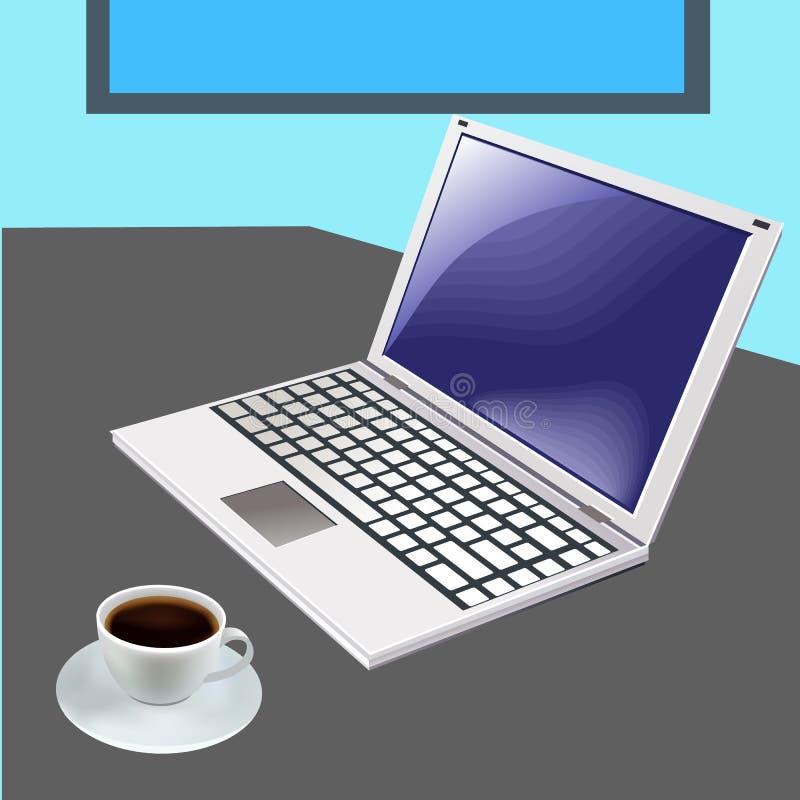 在办公室桌上的现代计算机 库存例证