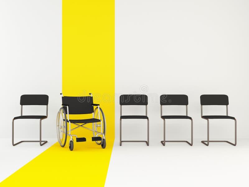 在办公室椅子中的轮椅 平等的概念 废人的空位 库存例证