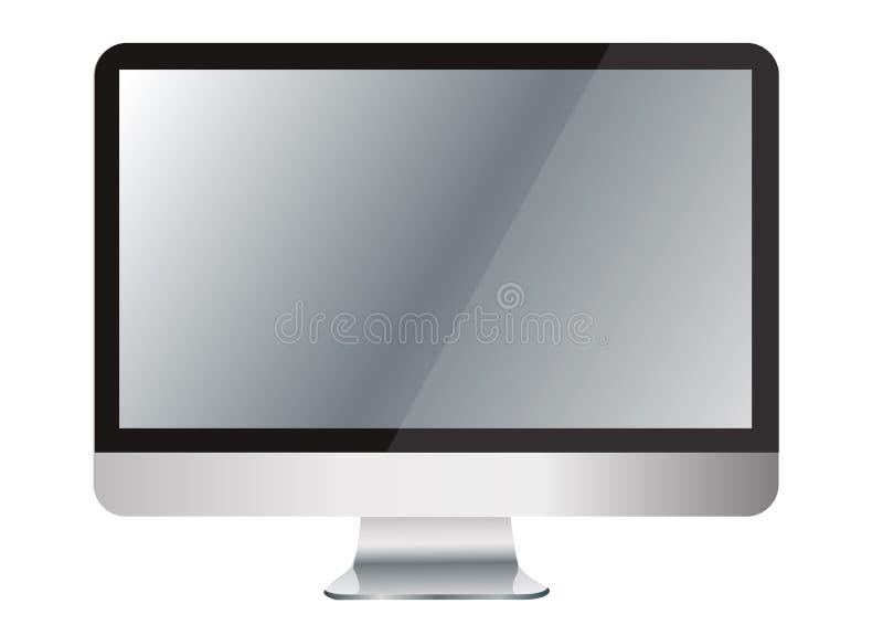 在办公桌和空间背景上的计算机 皇族释放例证