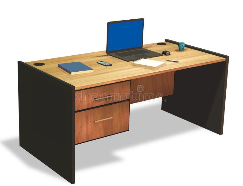 在办公桌3D上的膝上型计算机回报 免版税库存照片