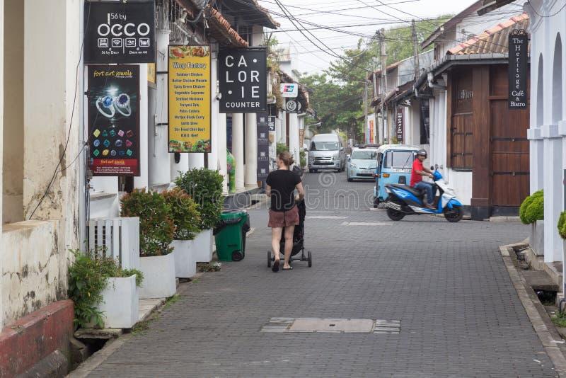 在加勒堡垒,斯里兰卡的小街道 库存照片