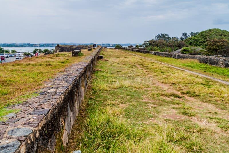 在加勒堡垒,斯里Lan附近的设防墙壁 库存照片