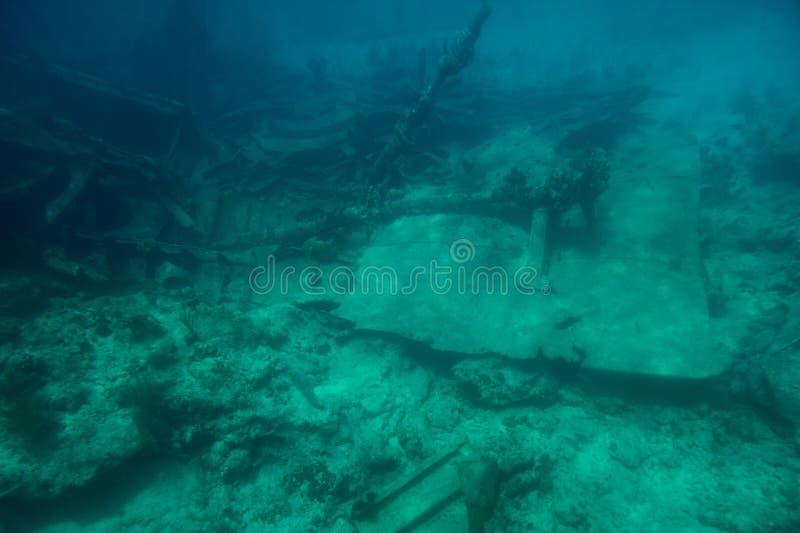 在加勒比海底部的海难  免版税库存照片