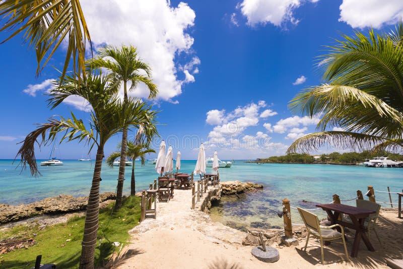 在加勒比海的海岸的咖啡馆, Bayahibe, La Altagracia,多米尼加共和国 复制文本的空间 免版税库存图片