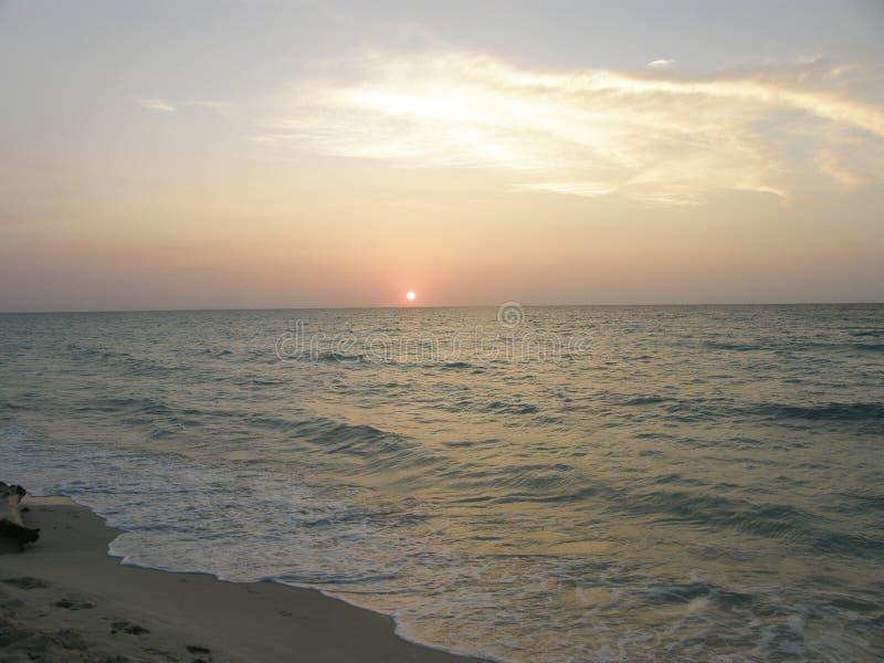 在加勒比海,哥伦比亚的日落 库存图片