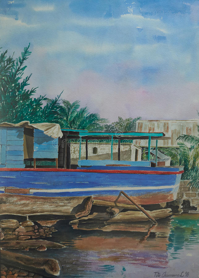 在加勒比海滩的蓝色小船 库存图片