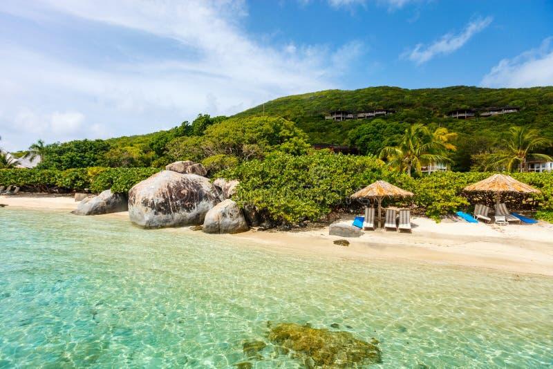 在加勒比的美丽的热带海滩 库存照片
