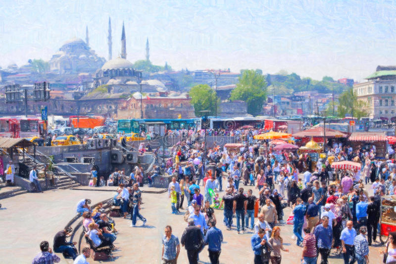 在加拉塔桥梁附近的伊斯坦布尔地方 图库摄影