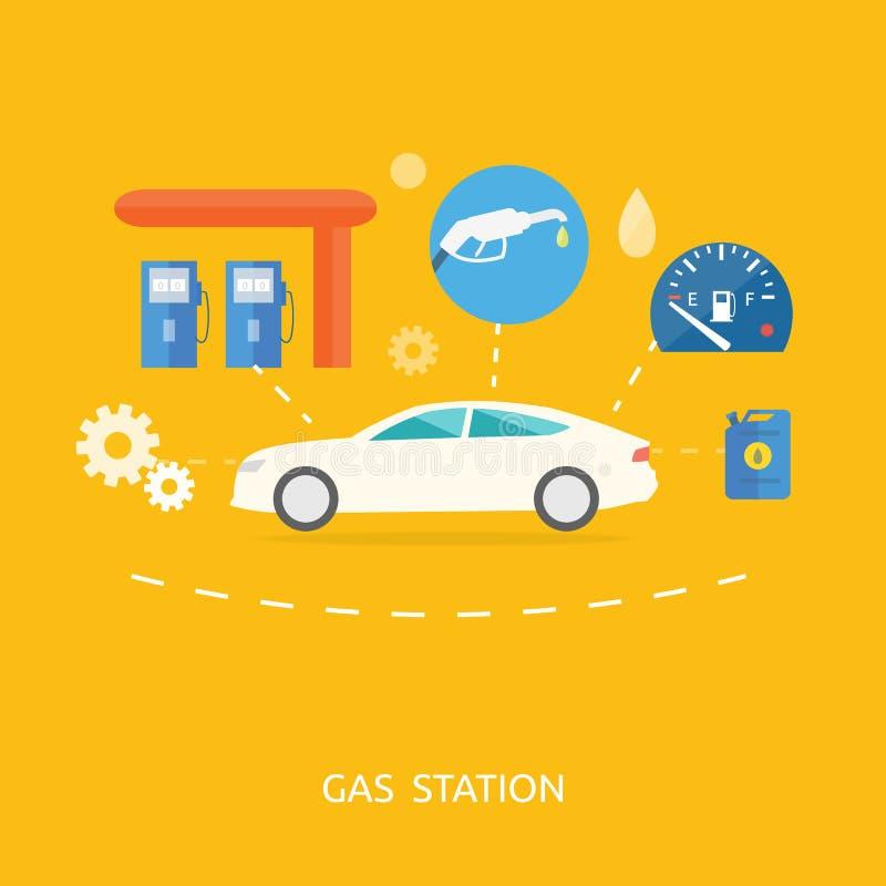 在加油站的汽车 燃料汽油分配器泵浦 皇族释放例证