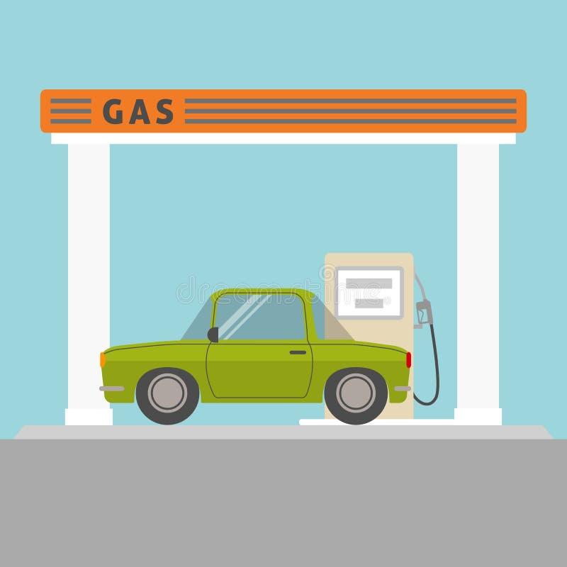 在加油站的汽车 向量例证