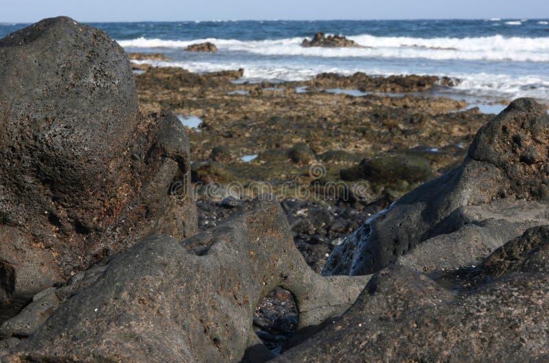 在加那利群岛的海岸的火山岩 免版税库存图片