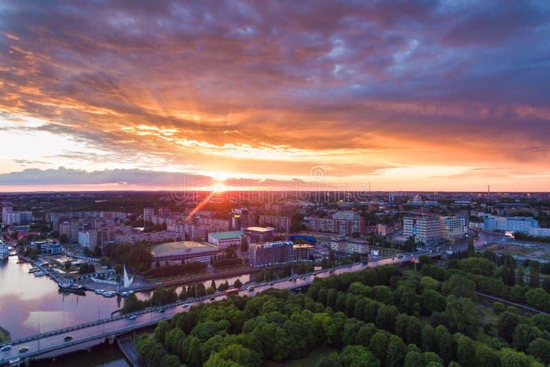 在加里宁格勒的日落 免版税库存图片