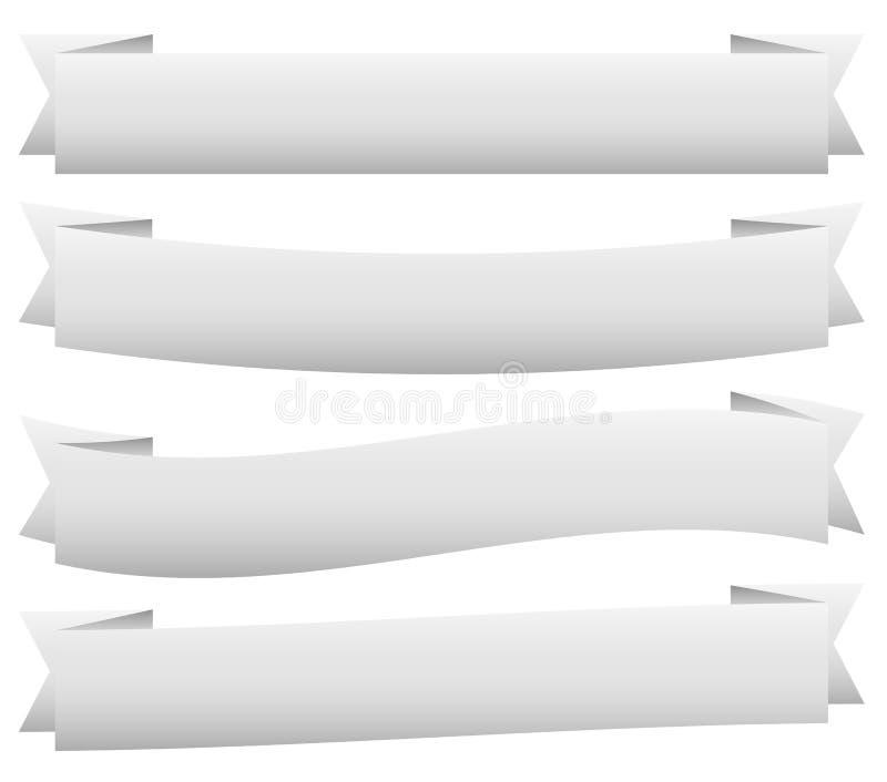 在动态样式的横幅/丝带模板 6种颜色 向量例证