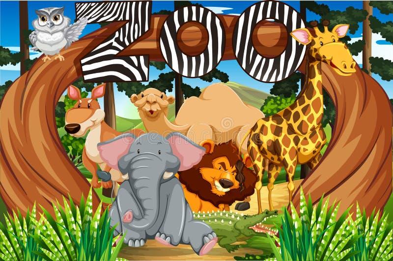 在动物园入口的野生动物 皇族释放例证