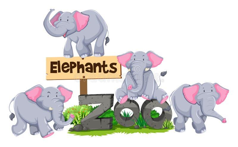 在动物园标志附近的大象 库存例证