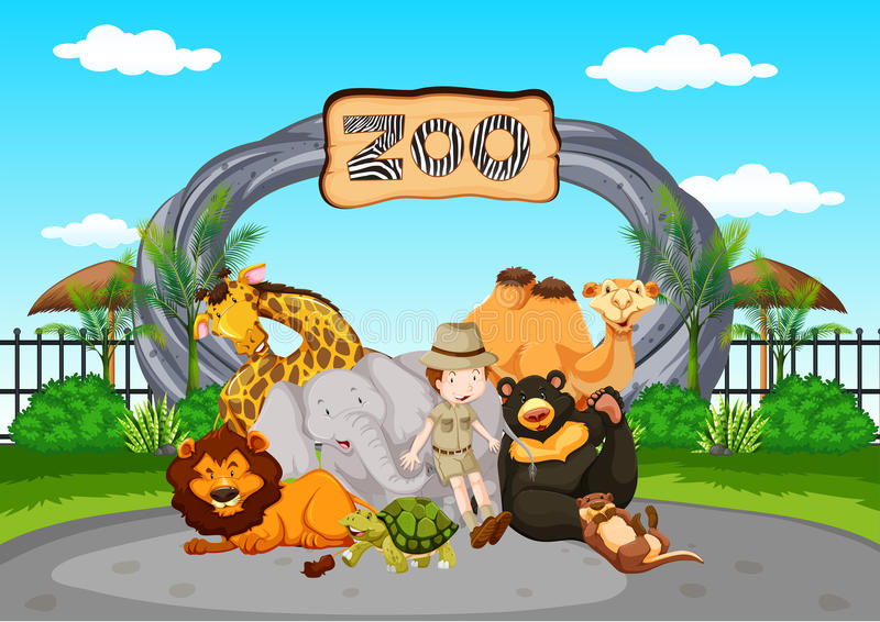 在动物园的场面有动物园管理员和动物的 向量例证