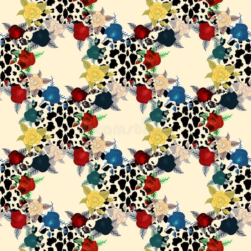 在动物皮毛豹子的花在褐色打印无缝的样式传染媒介、设计时尚的,织品、墙纸和所有印刷品 库存例证