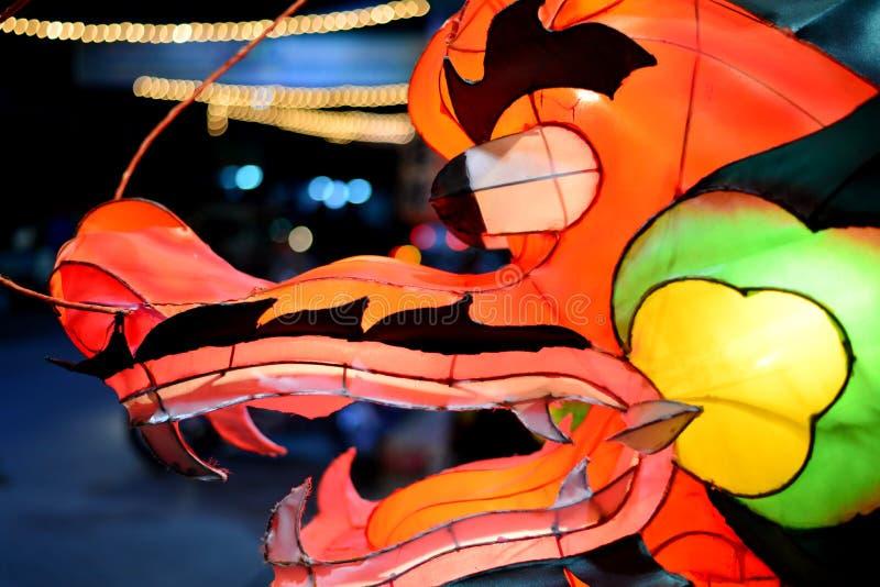 在动画片样式的中国龙灯笼 免版税库存图片