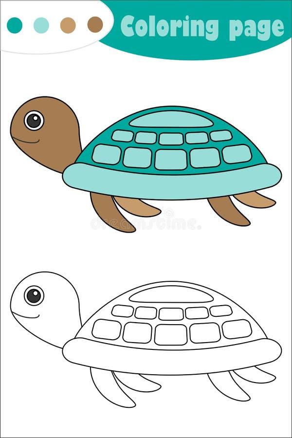 在动画片样式的乌龟,上色页,教育孩子的发展的,孩子学龄前活动纸比赛,可印 库存例证