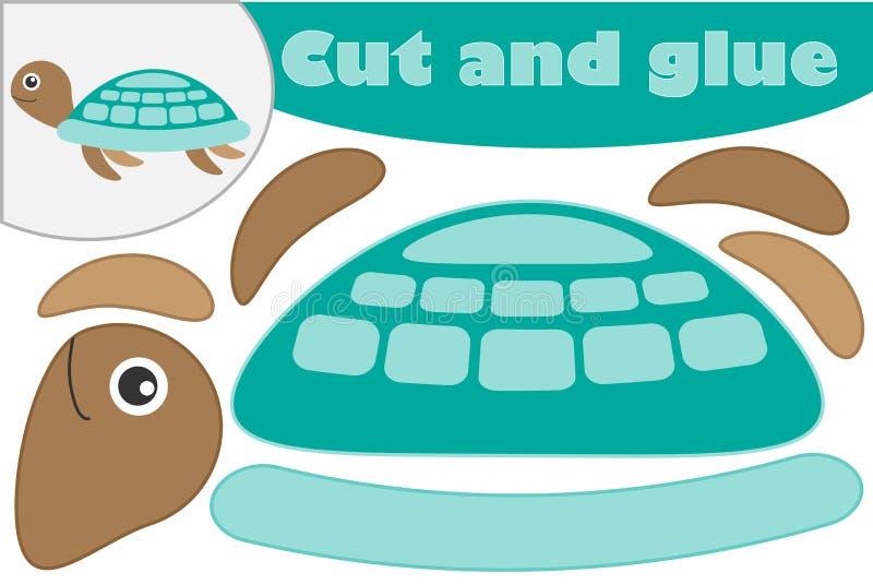 在动画片样式的乌龟,学龄前孩子的发展的教育比赛,创造补花的用途剪刀和胶浆, 向量例证