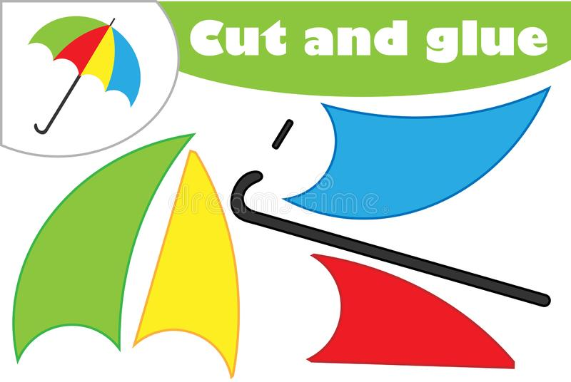 在动画片样式的伞,学龄前孩子的发展的教育比赛,创造补花的用途剪刀和胶浆, 库存例证
