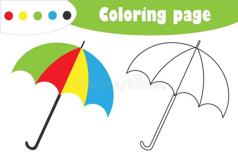 在动画片样式的伞,秋天着色页,孩子的发展的教育纸比赛,哄骗学龄前活动, PR 向量例证