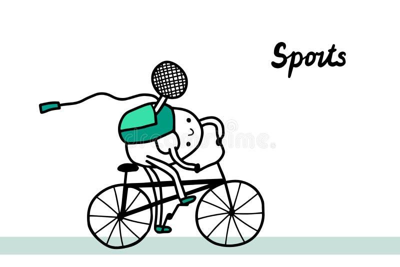 在动画片样式的体育手拉的传染媒介例证 骑有网球拍的活跃人自行车 向量例证