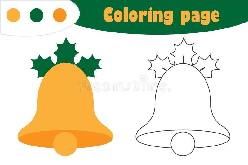 在动画片样式的响铃,圣诞节着色页,教育孩子的发展的,孩子学龄前活动,pri纸比赛 皇族释放例证