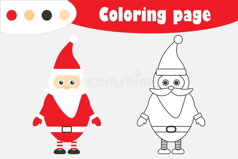 在动画片样式的圣诞老人项目,圣诞节着色页,教育孩子的发展的,孩子学龄前activi纸比赛 向量例证
