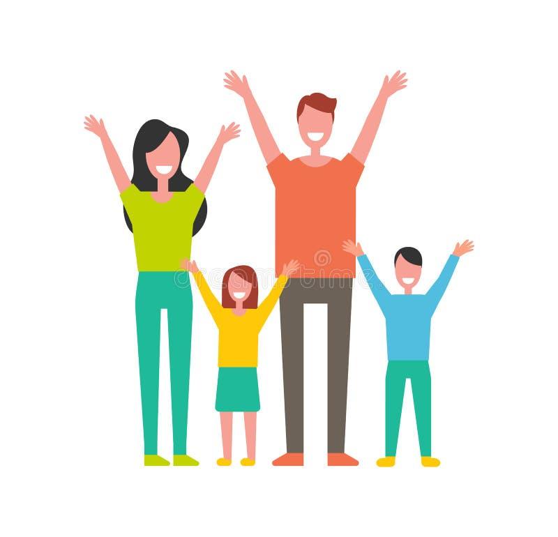 在动画片样式的幸福家庭五颜六色的传染媒介象 向量例证