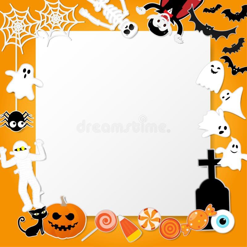 在动画片样式的愉快的万圣夜字符用南瓜、德雷库拉、骨骼、妈咪、蛇神、恶意嘘声、棒、鬼魂和元素 库存例证