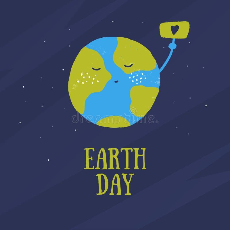 在动画片样式的愉快的世界地球日概念 保存世界难看的东西设计 与爱的标志的行星海报 库存例证
